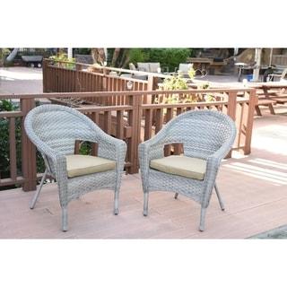 Set of 2 Grey Resin Wicker Clark Single Chair with 2 inch Tan Cushion
