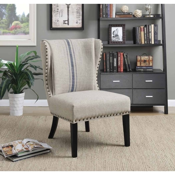 Shop Genesee Traditional Grey And Blue Accent Chair