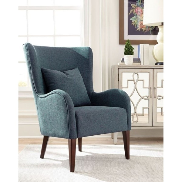 Shop Vance Transitional Blue Wingback Accent Chair Free Shipping