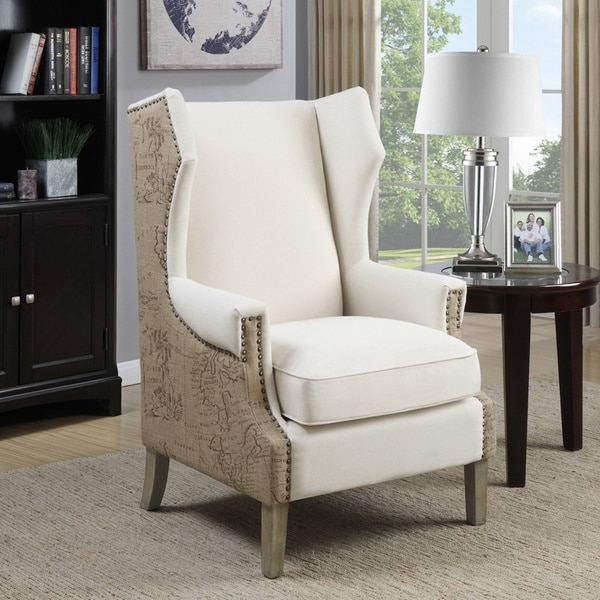 Copper Grove Elancourt Cream Accent Chair with Vintage Print