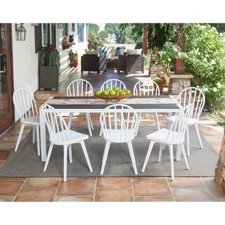 Havenside Home Hooper Bay 9-piece White Indoor/Outdoor Dining Set