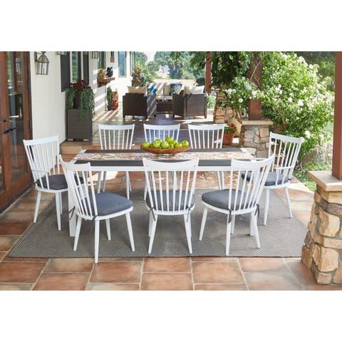 Handy Living Buena Vista 9-piece White Indoor/Outdoor Dining Set