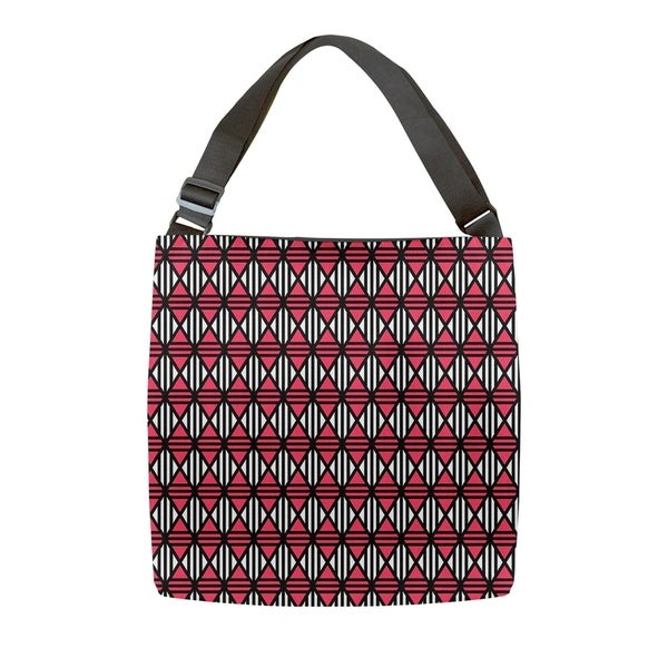 8e050ccec Shop Katelyn Elizabeth Black & Red Lined Diamonds Tote Bag - Adjustable  Handle - Free Shipping Today - Overstock - 27372441