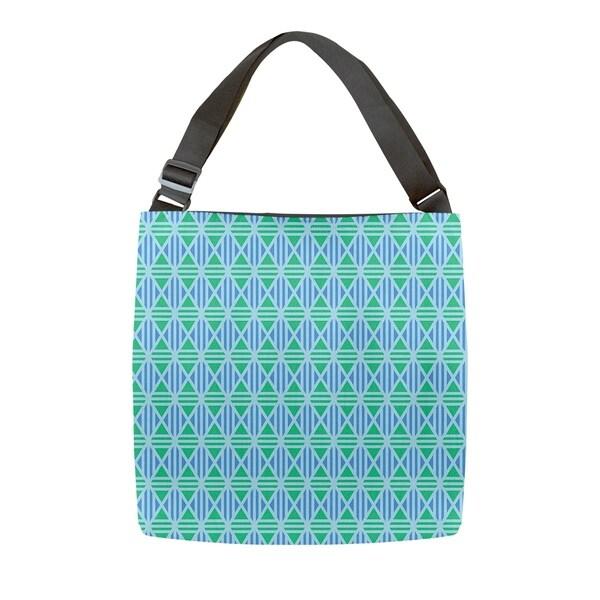 606304008 Katelyn Elizabeth Blue Pastel Lined Diamonds Tote Bag - Adjustable Handle