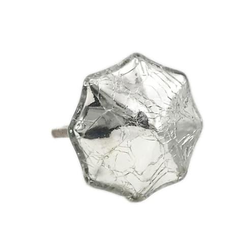Octagon Mercury Glass Distressed Chrome Knobs - Set of 6