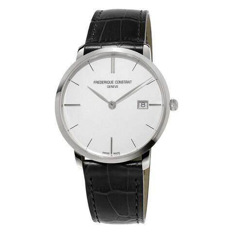 Frederique Constant Men's FC-220S5S6 'Slimline' Black Leather Watch