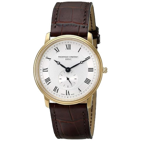 Frederique Constant Men's FC-235M4S5 'Slimline' Brown Leather Watch