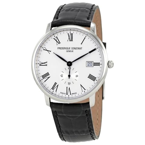 Frederique Constant Men's FC-245WR5S6 'Slimline' Black Leather Watch