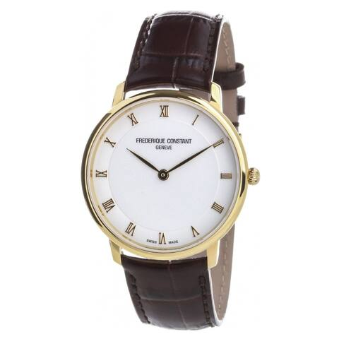 Frederique Constant Men's FC-200RS5S35 'Slimline' Brown Leather Watch