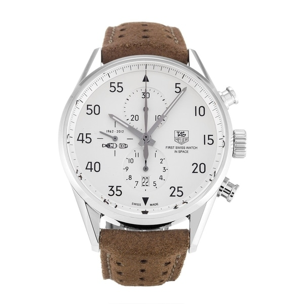 Tag Heuer Men's CAR2015.FC6321 Chronograph Brown Leather Watch. Opens flyout.