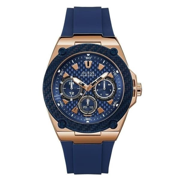 aliexpress how to buy save off Guess Men's U1049G2 'Casual' Chronograph Blue Silicone Watch