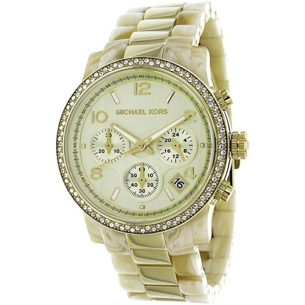 11acbc08b862 Shop Michael Kors Women's MK5582 'Classic' Chronograph Crystal Two-Tone  Stainless Steel Watch - Free Shipping Today - Overstock - 27375752