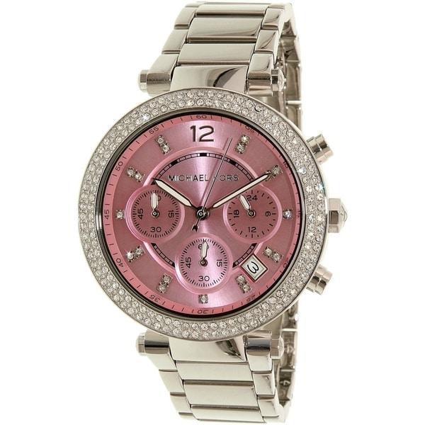 Michael Kors Women's MK6105 'Parker' Chronograph Pink Stainless Steel Watch