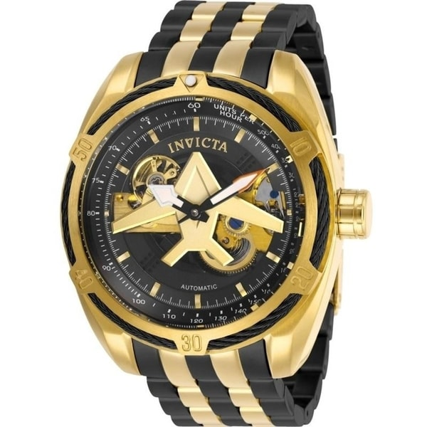 aee216841b0 Shop Invicta Men s 28217  Aviator  Automatic Black and Gold-Tone Stainless  Steel Watch - Free Shipping Today - Overstock - 27375794