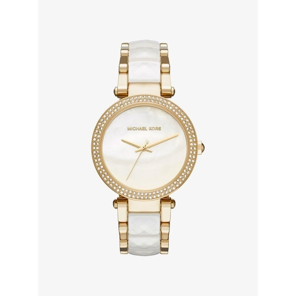 a2eaa6e52ad6 Shop Michael Kors Women s MK6400  Parker  Crystal Two-Tone Stainless Steel  and Acetate Watch - Free Shipping Today - Overstock - 27375796