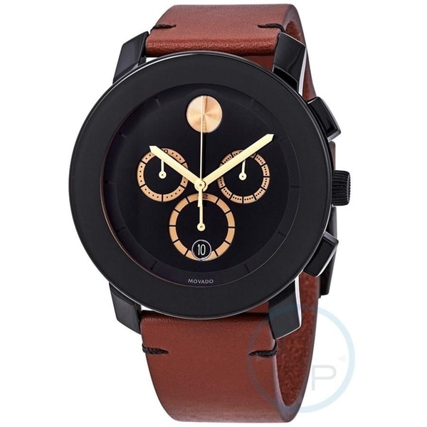 Movado Unisex 3600540 'TR90' Chronograph Brown Leather Watch