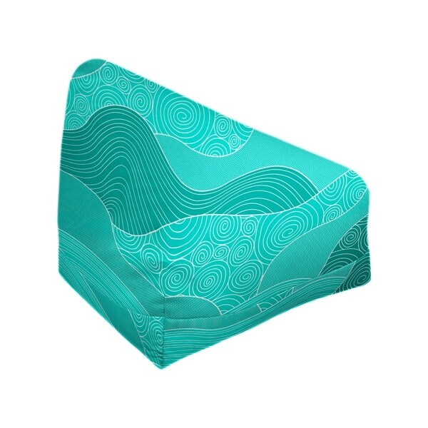 Katelyn Elizabeth Teal Hand Drawn Waves Bean Bag w/Filled Insert