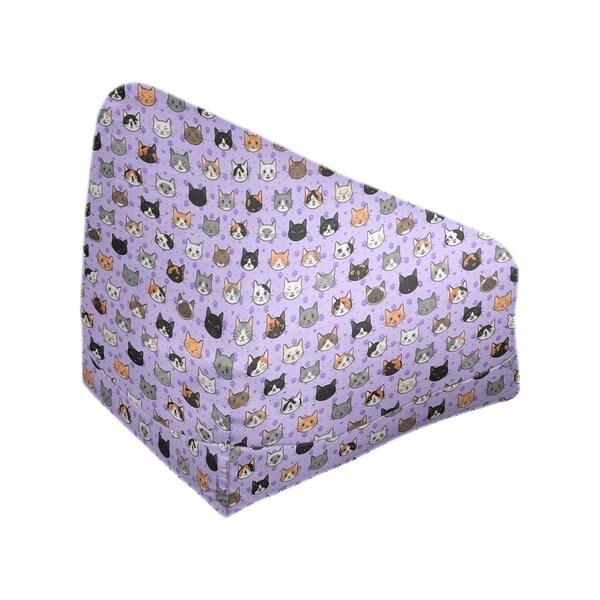Katelyn Elizabeth Purple Kitty Cat Pattern Bean Bag