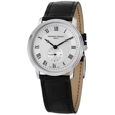 Frederique Constant Men's FC-235M4S6 'Slimline' Black Leather Watch