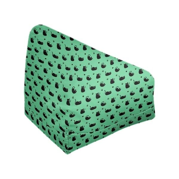 Katelyn Elizabeth Green Cat Pattern Bean Bag