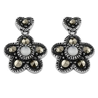 Fremada Sterling Silver Mother of Pearl Floral Earrings
