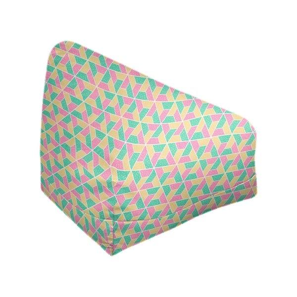 Katelyn Elizabeth Green Pink & Yellow Trapezoids Bean Bag