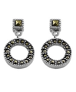 Fremada Sterling Silver Marcasite Circles Earrings