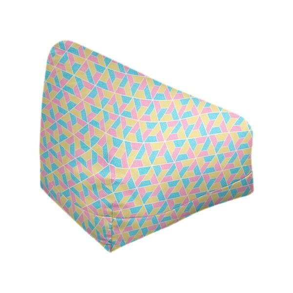 Katelyn Elizabeth Blue Yellow & Pink Trapezoids Bean Bag