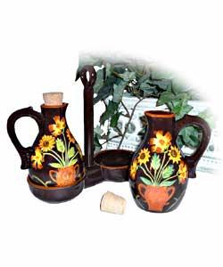 Handpainted English Sunflower Oil and Vinegar Set