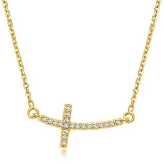 14k Yellow Gold Diamond Accented Curved Cross Necklace 11cttw