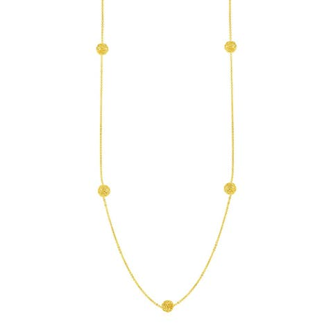 Station Necklace with Textured Love Knots in 14k Yellow Gold