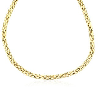 14k Yellow Gold Panther Chain Link Shiny Necklace