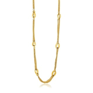 14k Yellow Gold Curved Oval Link And Multi Strand Cable Chain Necklace