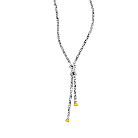 Popcorn Texture Necklace with Diamonds in Sterling Silver and 18k Yellow Gold