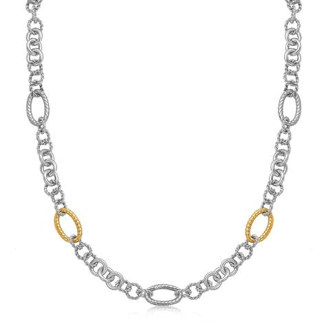 18k Yellow Gold and Sterling Silver Rhodium Plated Multi Design Chain Necklace