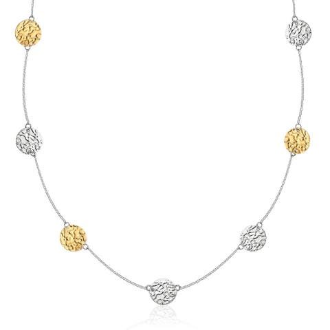 14k Yellow Gold & Sterling Silver 32'' Reticulated Disc Station Necklace