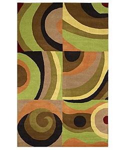 Hand-tufted Parial Wool Rug - Multi - 5' x 8' - Thumbnail 0