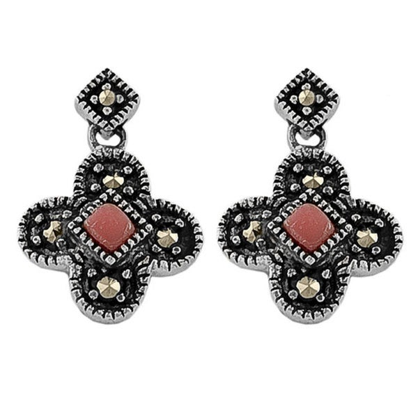 Fremada Sterling Silver Red Coral Butterfly Earrings