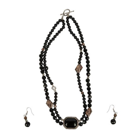 Genuine Black Onyx Necklace and Earlings with Smokey Quartz Pendant By Gempro - Drop Length: app. 18 inches / 46 cm