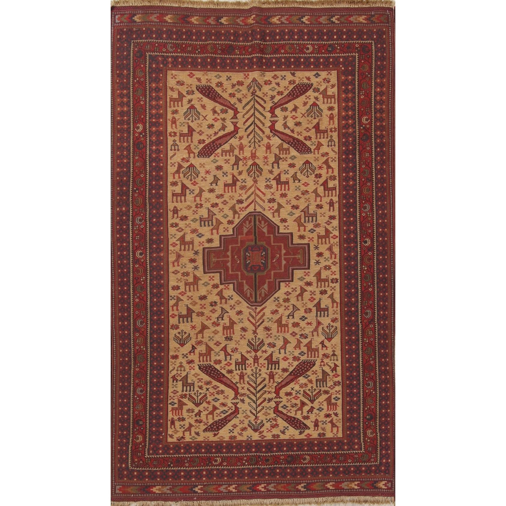 Vintage Sumak Animal Pictorial Hand Woven Wool Persian Area Rug 6 9 X 3 11 On Sale Overstock 27384039