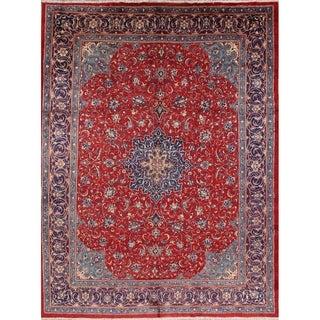 """Vintage Sarouk Medallion Handmade Wool Persian Area Rug - 13'3"""" x 10'1"""""""
