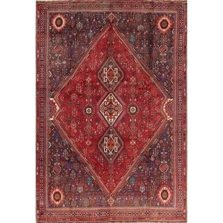 "Antique Shiraz Geometric Hand Made Wool Persian Area Rug - 10'7"" x 7'6"""