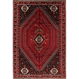 "Vintage Shiraz Geometric Hand Made Wool Persian Area Rug - 9'9"" x 6'9"""