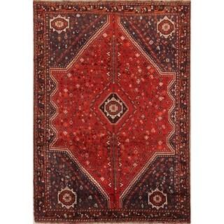 "Vintage Shiraz Geometric Hand Made Wool Persian Area Rug - 10'1"" x 7'3"""