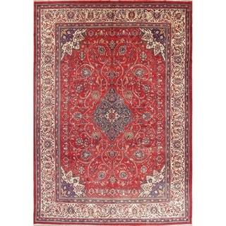 "Vintage Sarouk Floral Handmade Wool Persian Area Rug - 13'6"" x 9'0"""