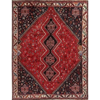 "Vintage Shiraz Geometric Hand Made Wool Persian Area Rug - 9'10"" x 7'5"""