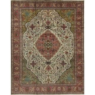 """Vintage Tabriz Floral Hand Made Wool Persian Area Rug - 12'7"""" x 9'11"""""""