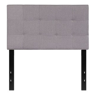 Offex Contemporary Tufted Upholstered Twin Size Panel Headboard in Light Gray Fabric