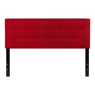 Offex Contemporary Tufted Upholstered Queen Size Panel Headboard in Red Fabric