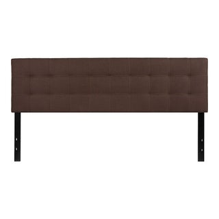 Offex Contemporary Tufted Upholstered King Size Panel Headboard in Dark Brown Fabric